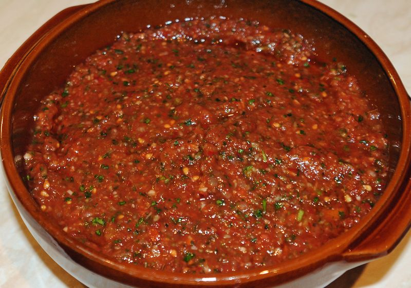 Ac l domates ezmesi turkish spicy tomato salsa recipe for Pomegranate molasses sainsburys